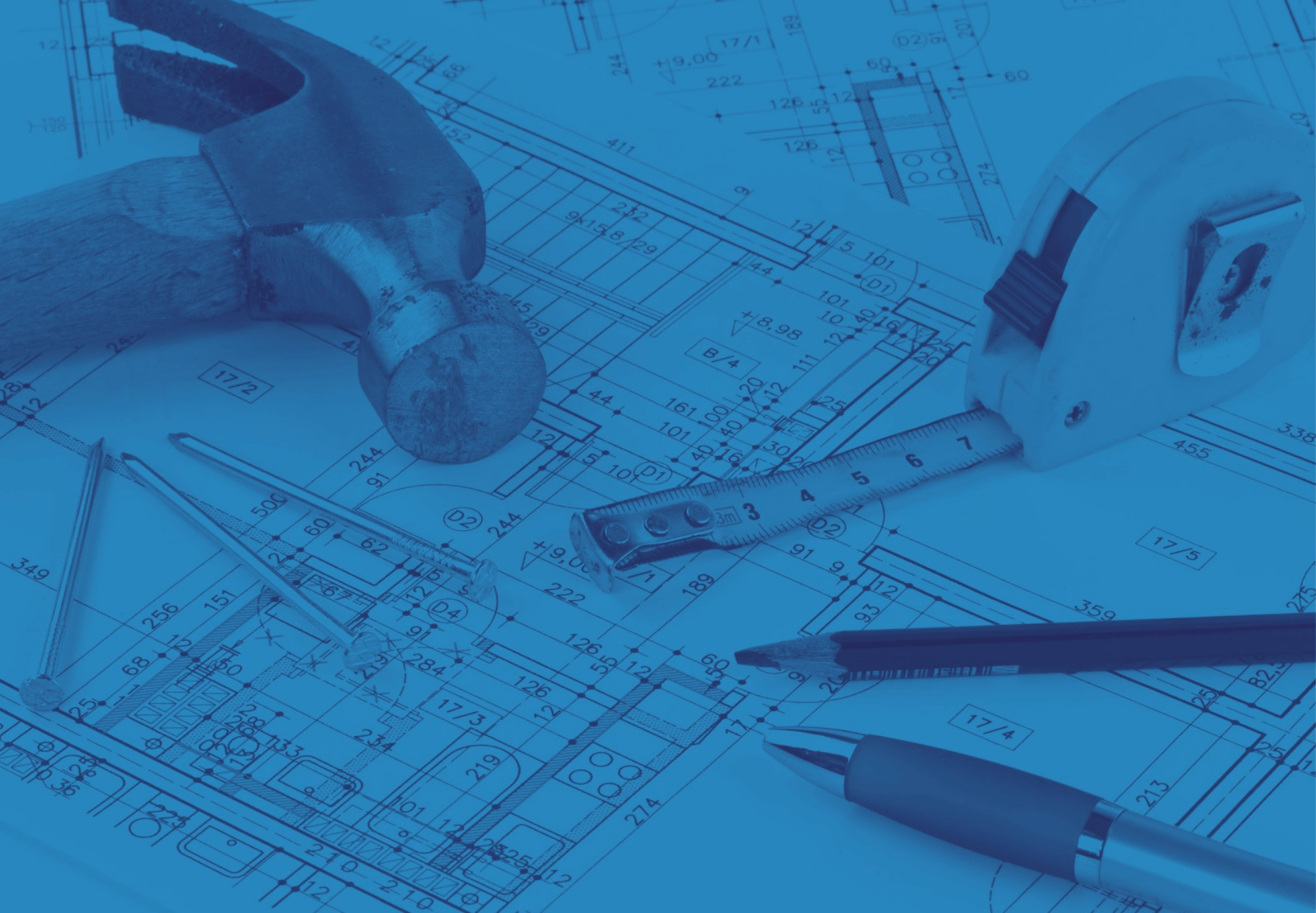 Renovations-plan-tools-pencil-pen-tape-measurer-blue